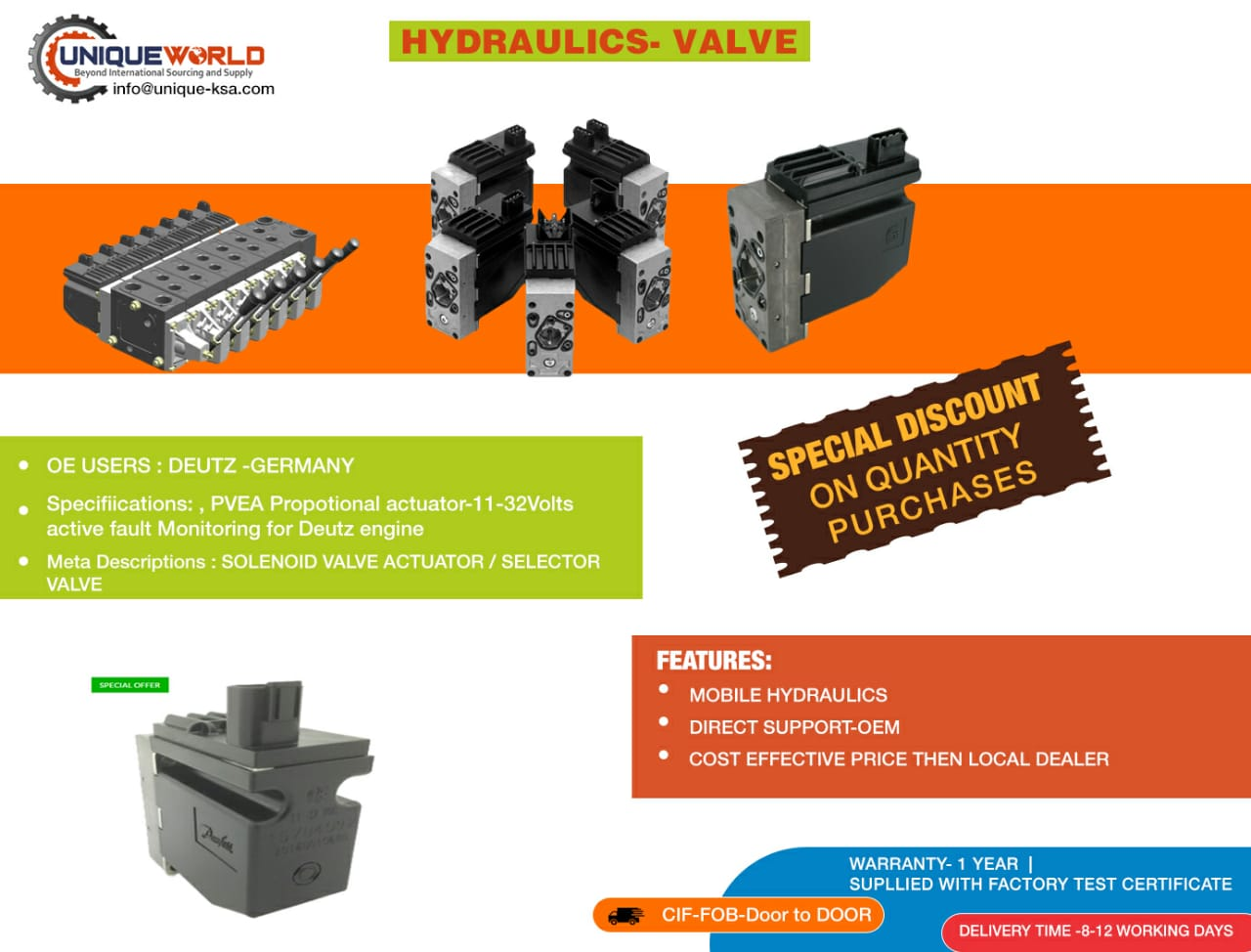 Selector valve Hydraulics for Deutz engine